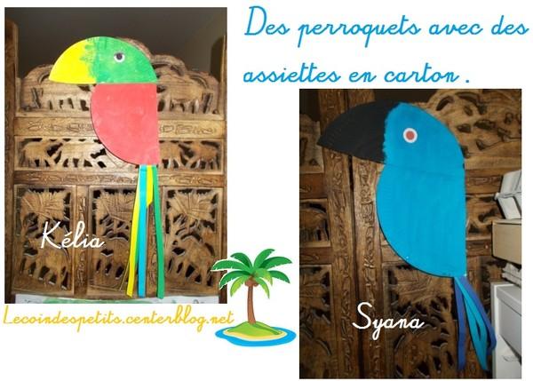 perroquets avec assiettes en carton. Black Bedroom Furniture Sets. Home Design Ideas
