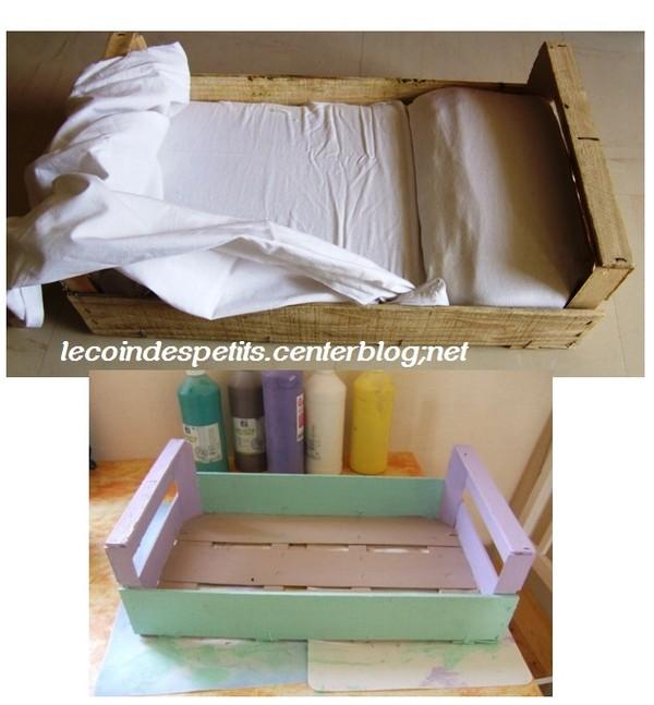 fabriquer un lit de poup e avec une caisse. Black Bedroom Furniture Sets. Home Design Ideas